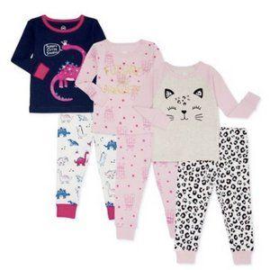 NWt 4T 4 leopard princess dinosaurs cat 6p pajamas